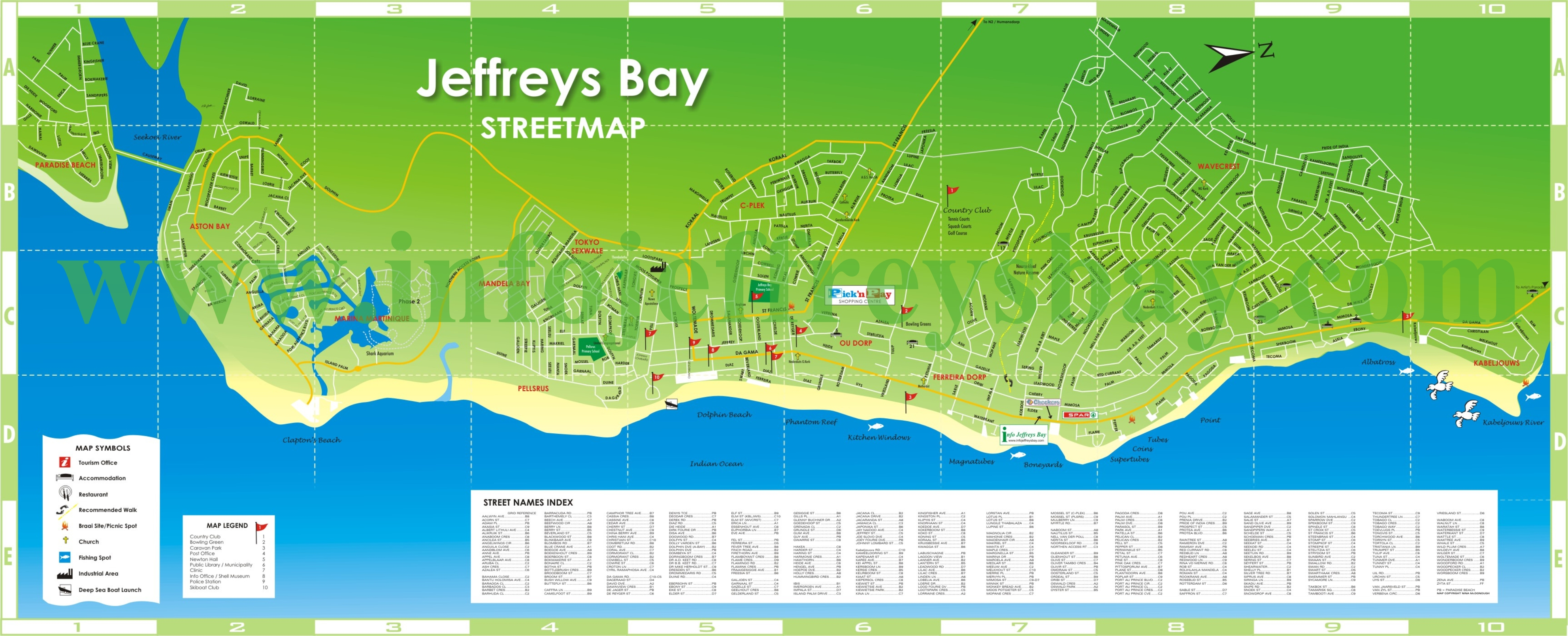 Map Jeffreys Bay Street Map Accommodation Tours Adventures Tourist ...