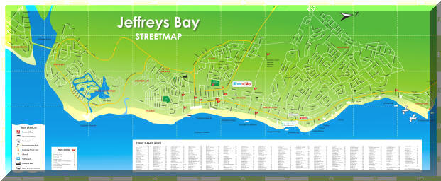J Bay South Africa Map Map Jeffreys Bay Street Map Accommodation Tours Adventures Tourist